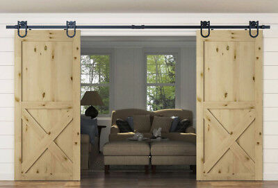 8/10/12FT Rustic Black Horseshoe Double Sliding Barn Door Hardware Interior Barn