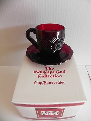 Avon Cape Cod Ruby Red  Cup and  Saucer  Set NIB ..