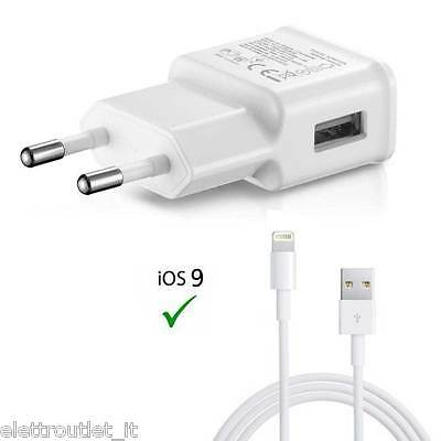 Kit 2 In 1 Per Apple Iphone 5S Se 6S 7 8 Cavo Usb Carica Batteria Casa Lightning