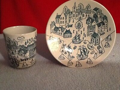 Nymolle Art Faience Green Cup & Saucer/Plate ~ Limited Edition Hoyrup 4006.
