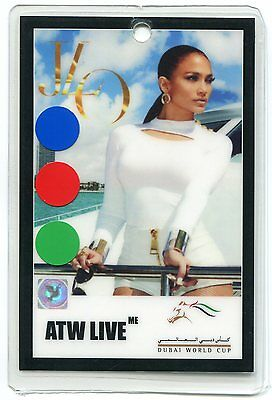 JENNIFER LOPEZ 2014 Tour Laminate Backstage Pass!!! Authentic DUBAI WORLD CUP