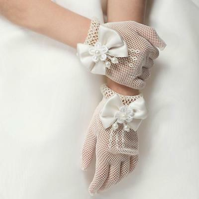 Beige Flower Girl Fishnet Bow Pearl Gloves Formal Communion Wedding Party