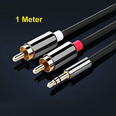 1 Meter Stereo 3.5mm Jack Plug to TWIN 2 x RCA PHONO Audio Lead GOLD CABLE Male