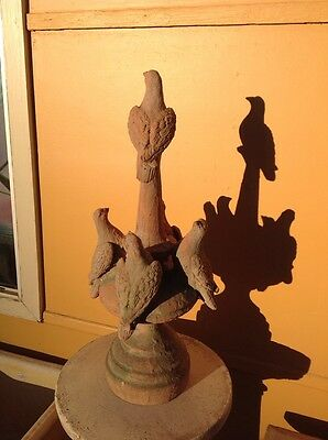 Vintage C19th? Terracotta Clay Cement Modelled Pigeon Doves Point Roof Finial