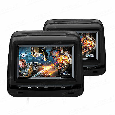 XTRONS Dual Twin Monitor Screen Car Headrest DVD Players Game/USB/SD/FM/IR/AUX