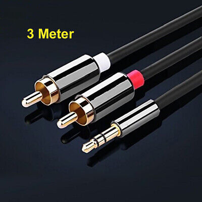 3 Meter 3.5mm Stereo Jack to 2x RCA Plugs Male to Male Aux Audio Cable Adapter