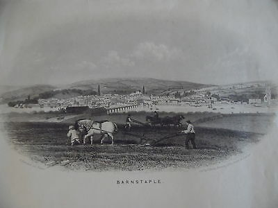 Antique Engraved View  Barnstaple, with Horses and River Taw, circa 1860.