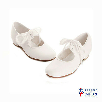 White PU low heel tap shoes - all sizes
