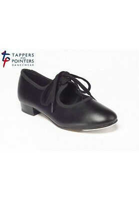 Black PU low heel tap shoes - all sizes