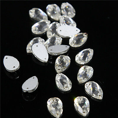 30 PCS Sew on Beads Horse Eye Clear Crystal Rhinestone Flatback 11*18mm Buttons