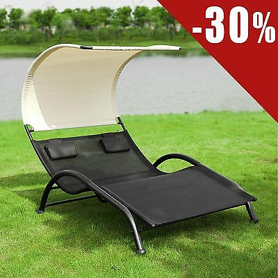 SoBuy® Double Sun Lounger Sunbed,Outdoor Recliner Chair with Canopy,OGS29-SCH,UK