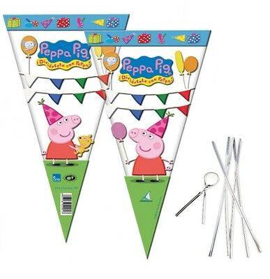 Peppa Pig Large Sweet Cello Cone Loot Bags with Ties Birthday Party Length 40cm