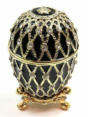 Decorative Faberge Egg Trinket Box Easter Egg Jewelry Box with Crystals, Black