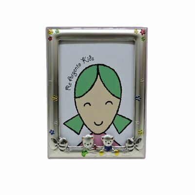 Picture Frame Baby Bears and Flowers Pink 3,5x5'' in Silver