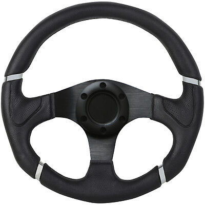 3 Spoke Black & Silver Racing/Sports Replacement Car Steering Wheel - 330Mm/13""