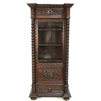 Antique French Carved Oak Louis XIII / Hunt One Door Bookcase