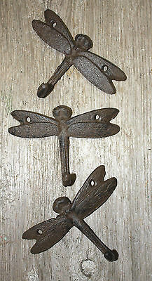120 Cast Iron DRAGONFLY Towel Hanger Coat  Hat Hooks, Key Rack GARDEN Hook BUG