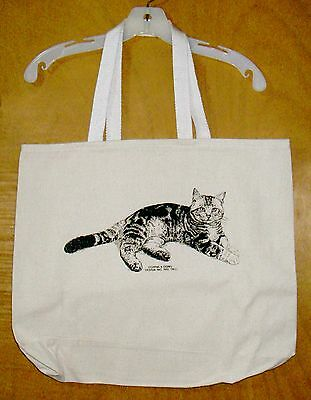 AMERICAN SHORTHAIR TABBY CAT  Coming&Going 100% Cotton Canvas XL Tote Bag