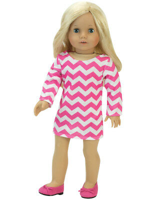 Pink & White Chevron Dress Made for 18 Inch American Girl Doll Clothes AG