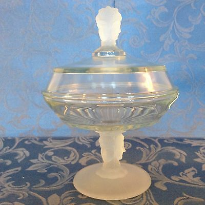 Vintage Frosted Glass 3 Face Lady Compote Candy Dish W/lid