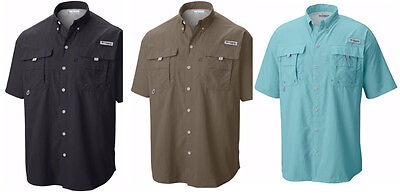 NEW COLUMBIA Men's PFG BAHAMA II Short Sleeve Shirt, XS-S-M-L-XL-XXL