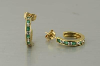 Solid 18k Solid Yellow Gold Green Onyx Small Hoop Earrings