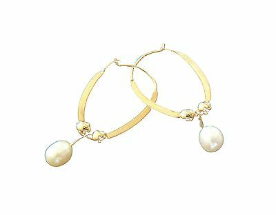Vintage Cultured Pearl & 10 K Yellow Gold Hoop/Drop Earrings - Late 20th Century