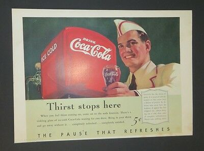 Coca-Cola Original Magazine Art Soda Fountain Jerk Boy 1940 Thirst Stops Here