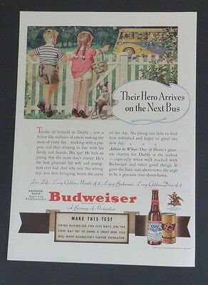 Original Magazine Ad 1940 Budweiser Children Waiting for Bus Art Girl Boy