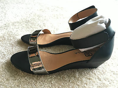 d2c7b5350489b CIAO BELLA WILSON Wedge Sandals Black Pewter Ankle Strap Sz 6.5 M New in  Box -  59.00