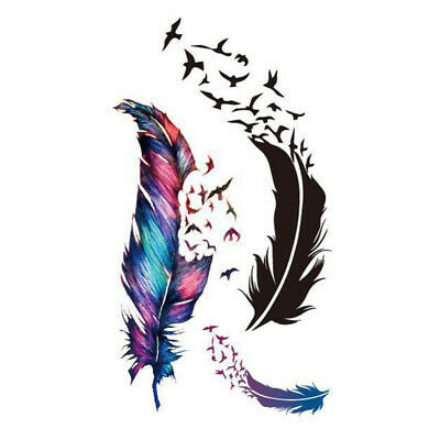 5 Sheets Waterproof Colorful Feather Temporary Tattoo DIY Body Sticker