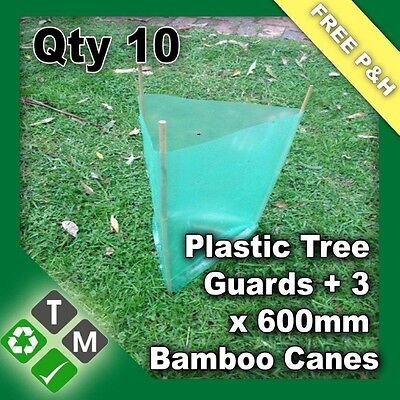 10 x Plastic Tree and Plant Guard Protection Sleeves & 30 x 600mm Bamboo Canes