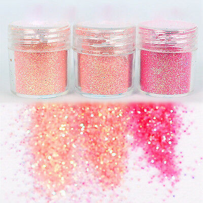 3 Mix Color Nail Art Glitter Powder Dust For UV GEL Acrylic Decoration Tips Hot