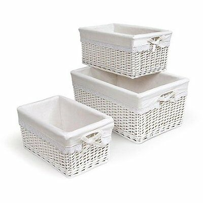 Badger Basket White Three Basket Set with Liners Free Shipping New