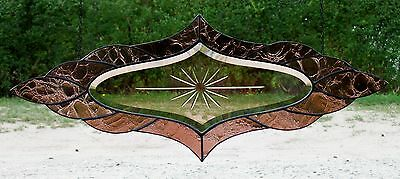 Leaded glass rose facets- Window image / Crackled Real Antique glass in Tiffany