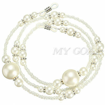 White Pearl Beaded Eyeglass Spectacle Glasses Chain Neck Holder Cord Lanyard