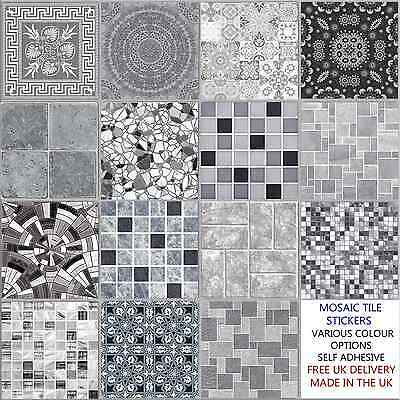Grey Mosaic Tile Stickers Transfers Kitchen Bathroom 6 inch - Various Designs