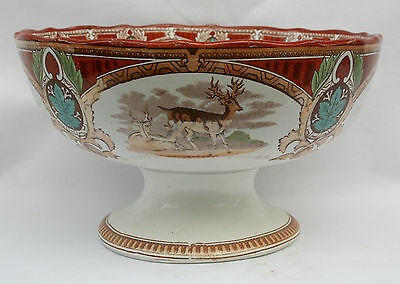 Antique 19th Century Clyde Toddy Bowl - Signed Stag C P Co.- Scenes of Deer -