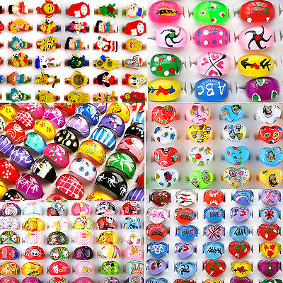 10Pcs Wholesale Lots Children Kids Party Finger Rings Cute Mixed Polymer Clay ny