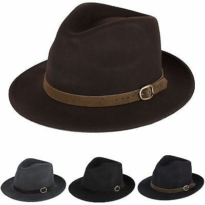 Men's Ladies Handmade Fedora Hat Made In Italy 100% Wool Felt With Leather Band
