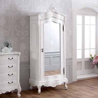 French Chateau White Painted Small 1 Door Mirrored Armoire - Wardrobe - SAN08-W