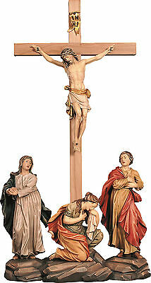 CROCIFISSIONE - CRUCIFiXION GROUP In Legno Scolpito..WOODCARVING CM. 152X70