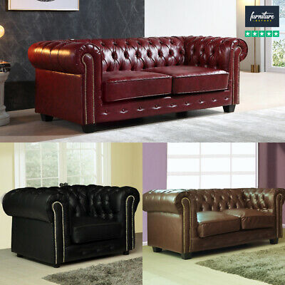 Chesterfield Leather Sofas in 3+2+1 Seaters Antique Design FREE DELIVERY