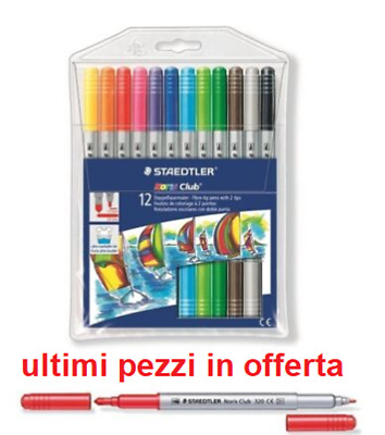 Pennarelli Penne A Due Punte Staedtler 12 Pezzi Penna Pennarello Doppia Punta