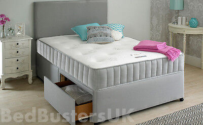 GREY ORTHOPEDIC DIVAN BED + MATTRESS + HEADBOARD SIZE 3FT 4FT6 Double 5FT King