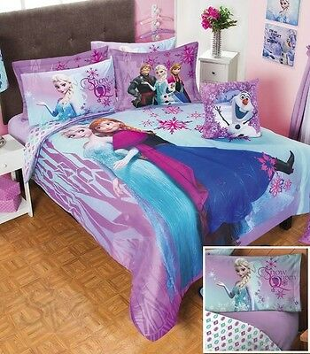 New DISNEY FROZEN Purple Comforter Sheet Set GIRL BEDDING ELSA ANNA OLAF