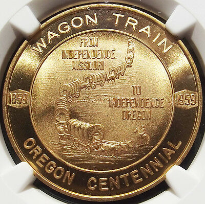 1959 Oregon Medal - MS67 NGC HK559, Independence Wagon Train OR Centennial Token
