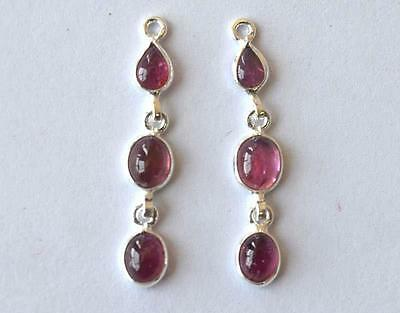 """SOLID 925 STERLING SILVER - PINK TOURMALINE (for earrings) 1 1/4"""" #3383"""