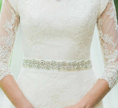 AUDREY Silver Pearl and Rhinestone Diamante Bridal Sash Wedding Dress Belt