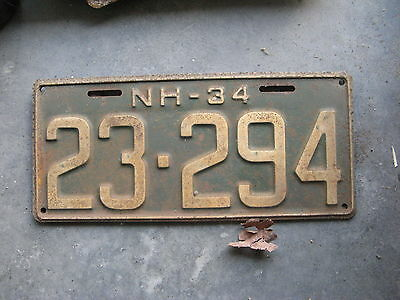 1934 34 New Hampshire Nh License Plate Nice Tag Decoration Sweet 23 294